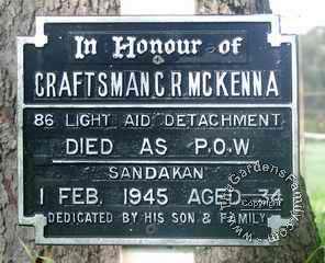 Memorial Plaque CFN Charles R McKENNA W63